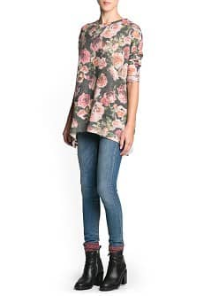 Floral mohair wool-blend sweater