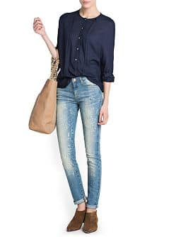 SLIM-FIT CROPPED VINTAGE WASH JEANS