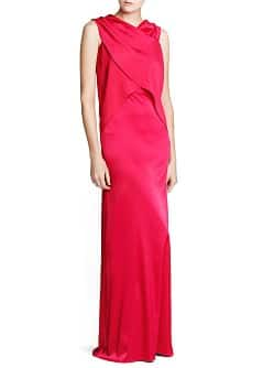 Wrap top satin gown