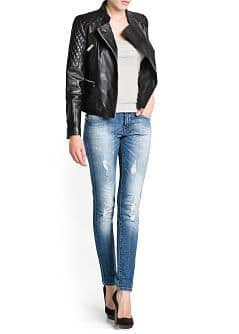 QUILTED PANELS LEATHER JACKET