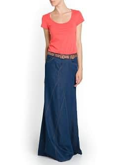Long flared denim skirt