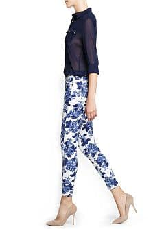 Printed slim-fit trousers