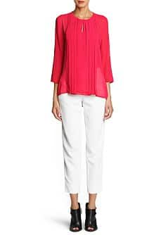 Pleated detail chiffon blouse