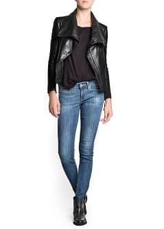 Maxi flap leather jacket