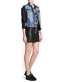 Buckle leather miniskirt