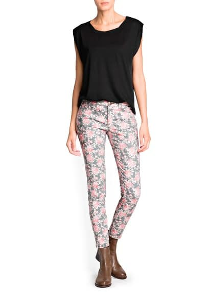 Slim-fit floral print trousers