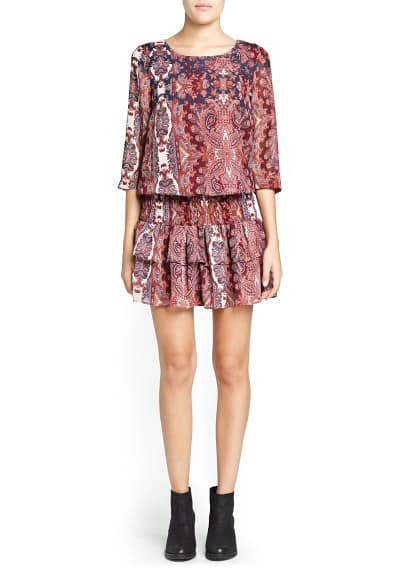 Paisley print ruffled dress