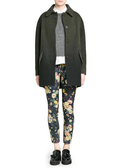 Contrast trim floral trousers
