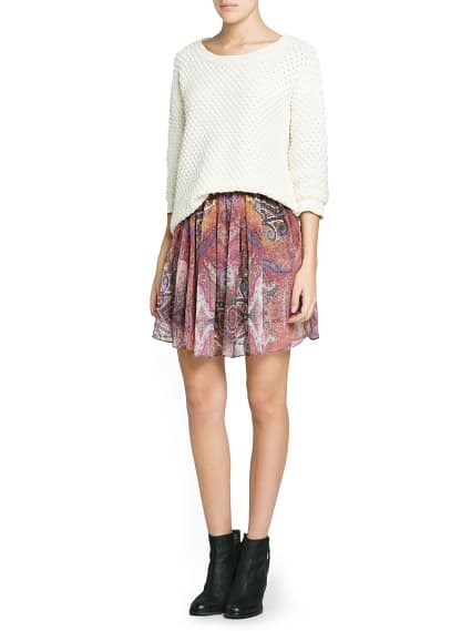 Scarf print pleated skirt