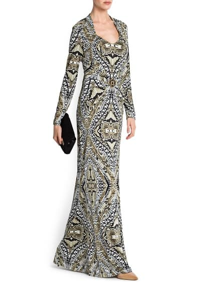 BROOCH PRINTED GOWN