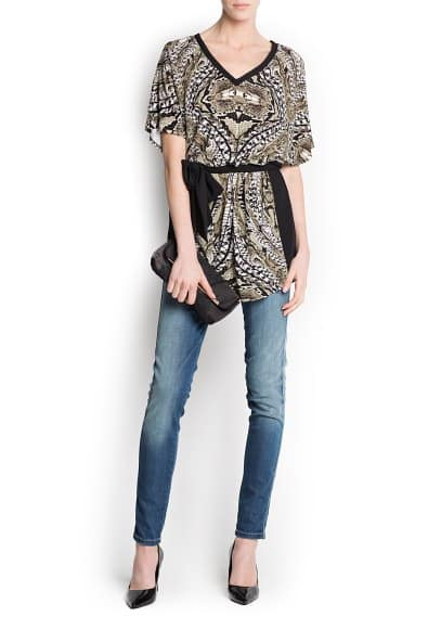 Chiffon panels printed blouse