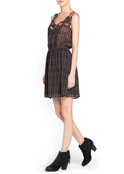 Floral panels plaid dress