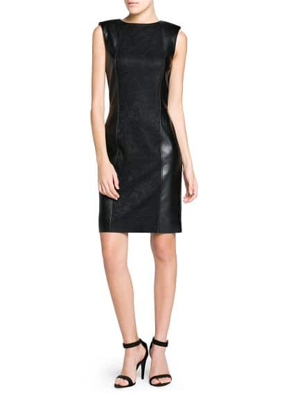 Lace appliqué faux leather dress