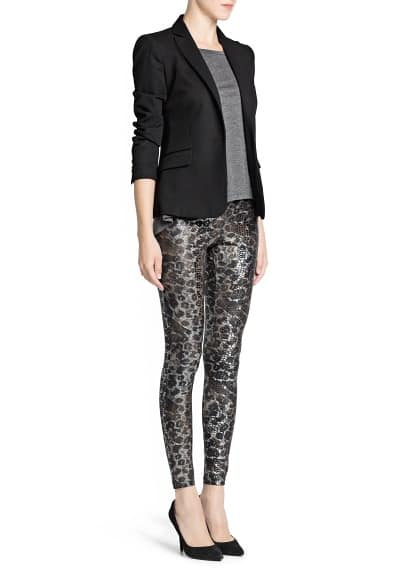 Metallic animal print leggings