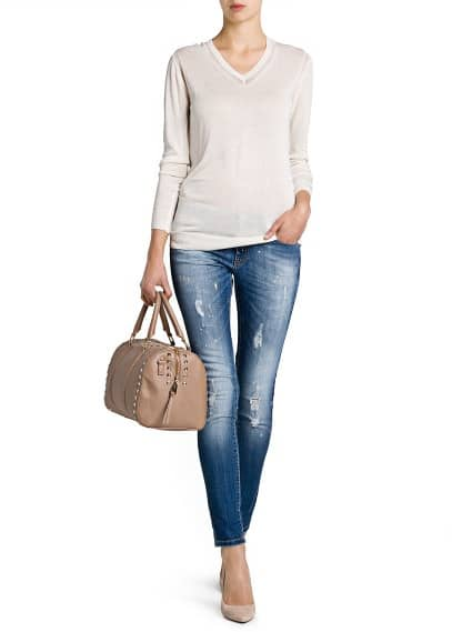 V-neck lightweight sweater