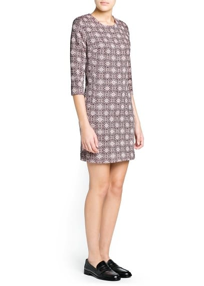 Padded shoulder jacquard dress