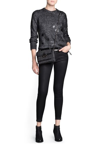 Faux leather palm sweater