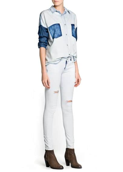 Color block denim shirt