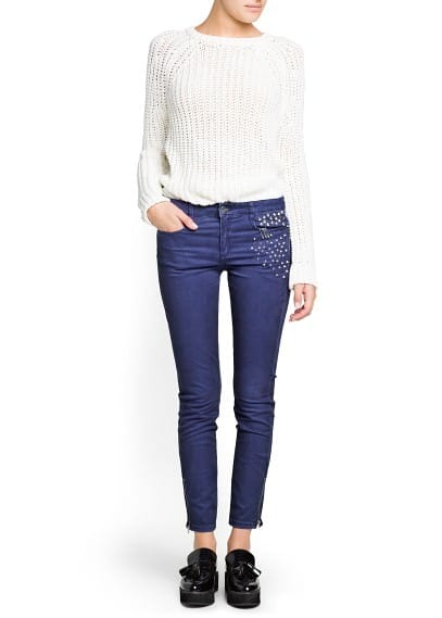 Tencel cotton-blend studded trousers