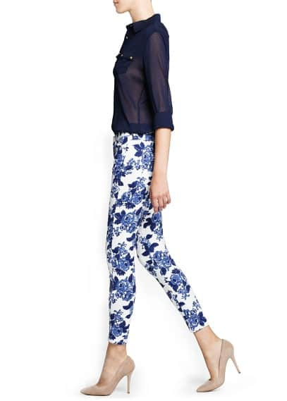 Floral print slim-fit trousers