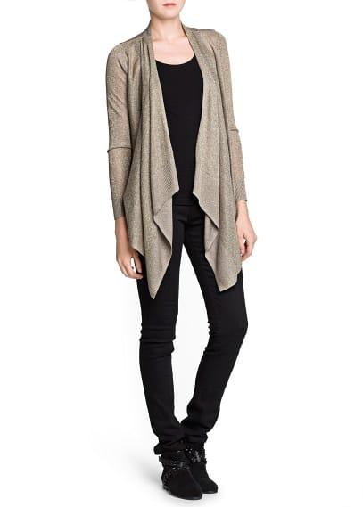 Metallic detail waterfall cardigan