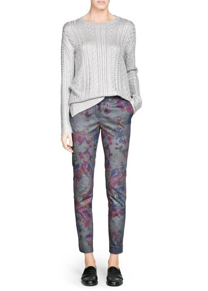 Floral print suit trousers
