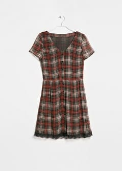 Lace appliqué check dress