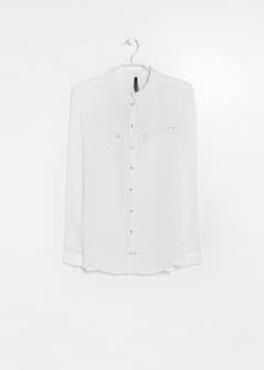 Metallic button flowy shirt