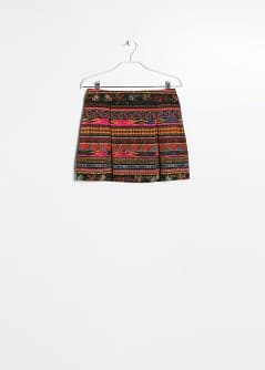 Textured scarf print skirt