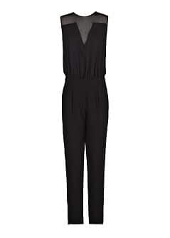 Polka-dot chiffon panel jumpsuit