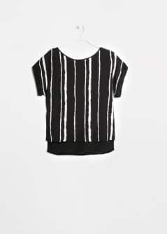 Bicolor striped crepe blouse