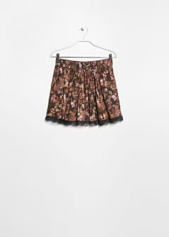 Lace appliqué floral skirt