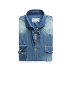 Classic-fit vintage denim shirt