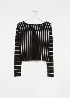 Monochrome Striped Cropped Sweater