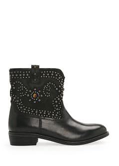 Tiger's eye leather ankle boots