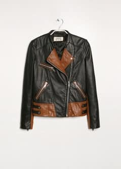 Contrast panel leather biker jacket
