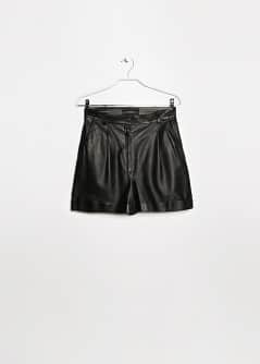 High-waist leather shorts