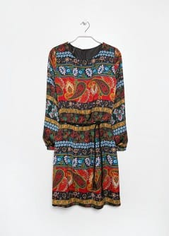 Paisley print satin dress