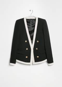Contrast trim textured jacket