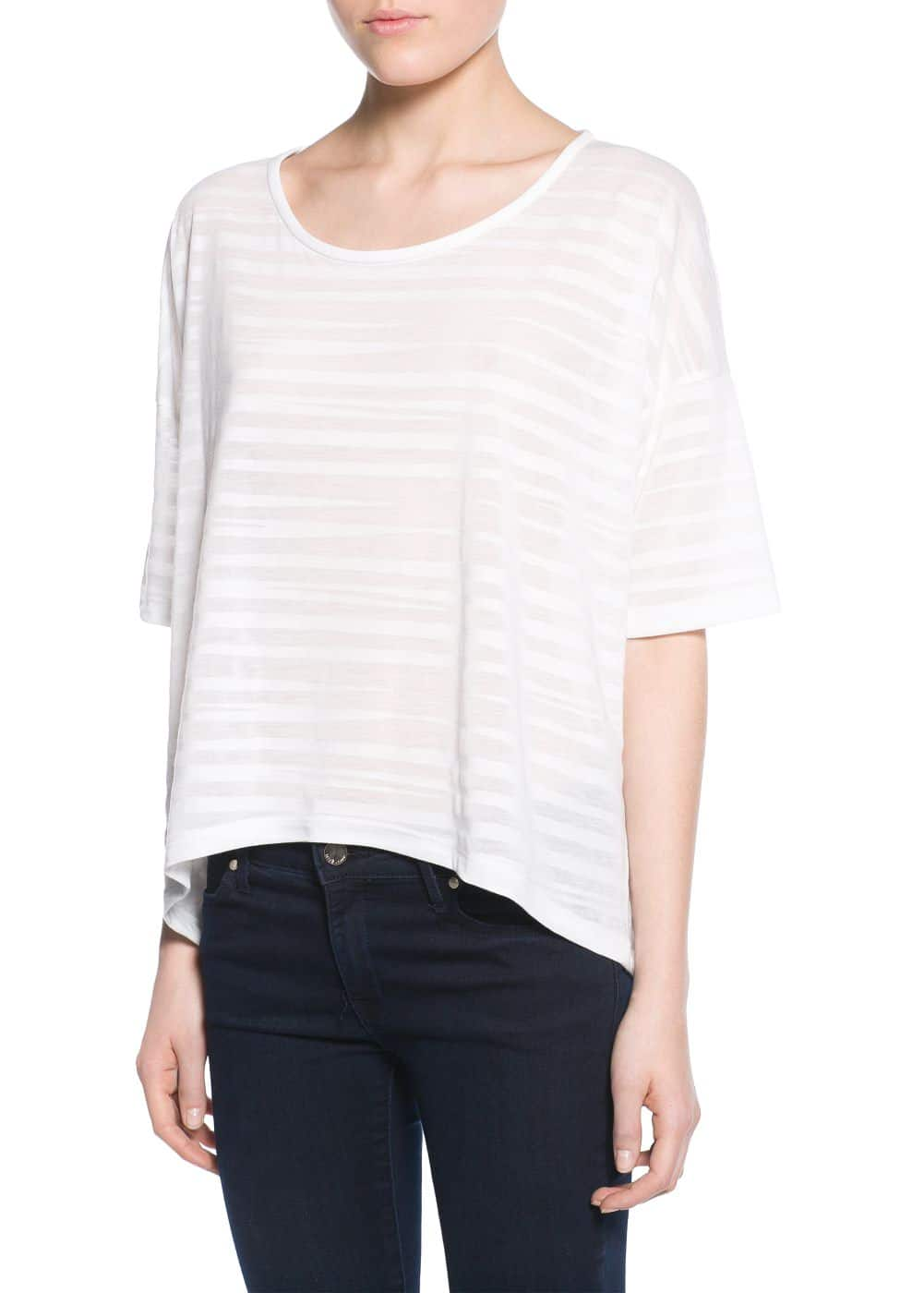 Striped texture t-shirt | MANGO