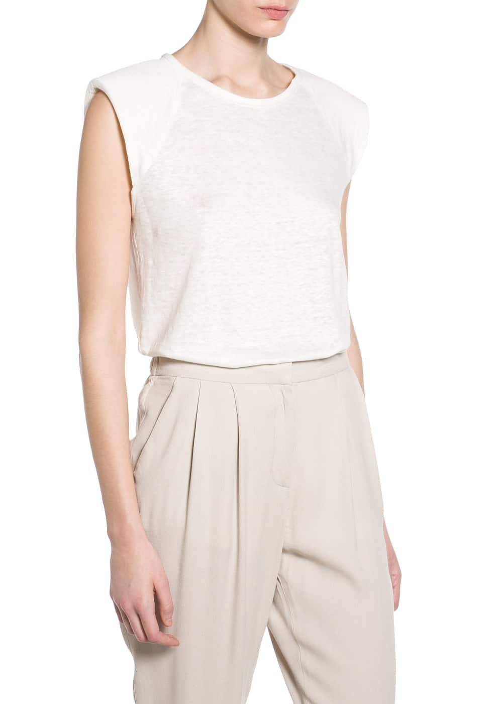 Linen padded t-shirt | VIOLETA BY MANGO