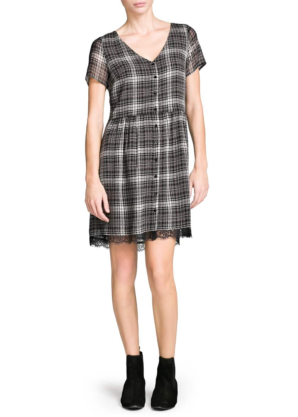 Lace appliqué check dress | MANGO