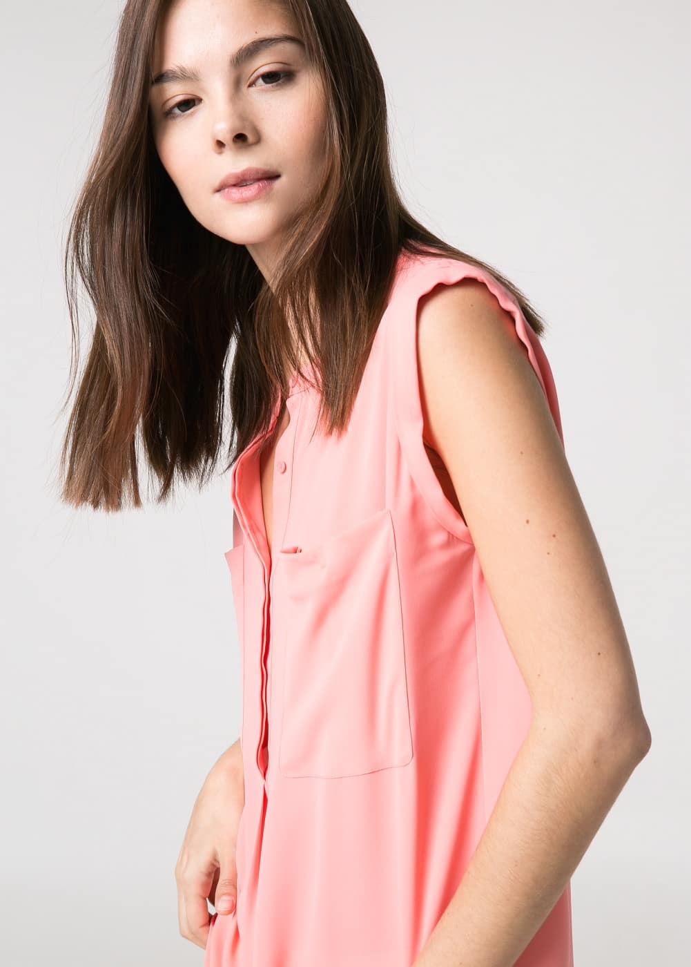 Chest-pocket chiffon top