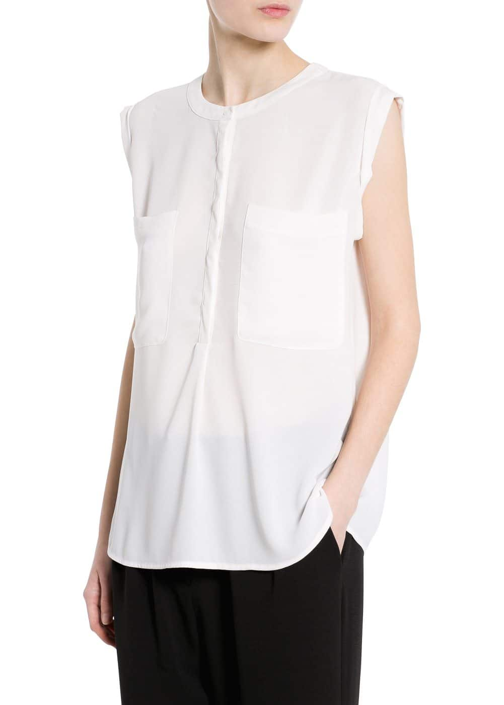 Chest-pocket chiffon top | MANGO