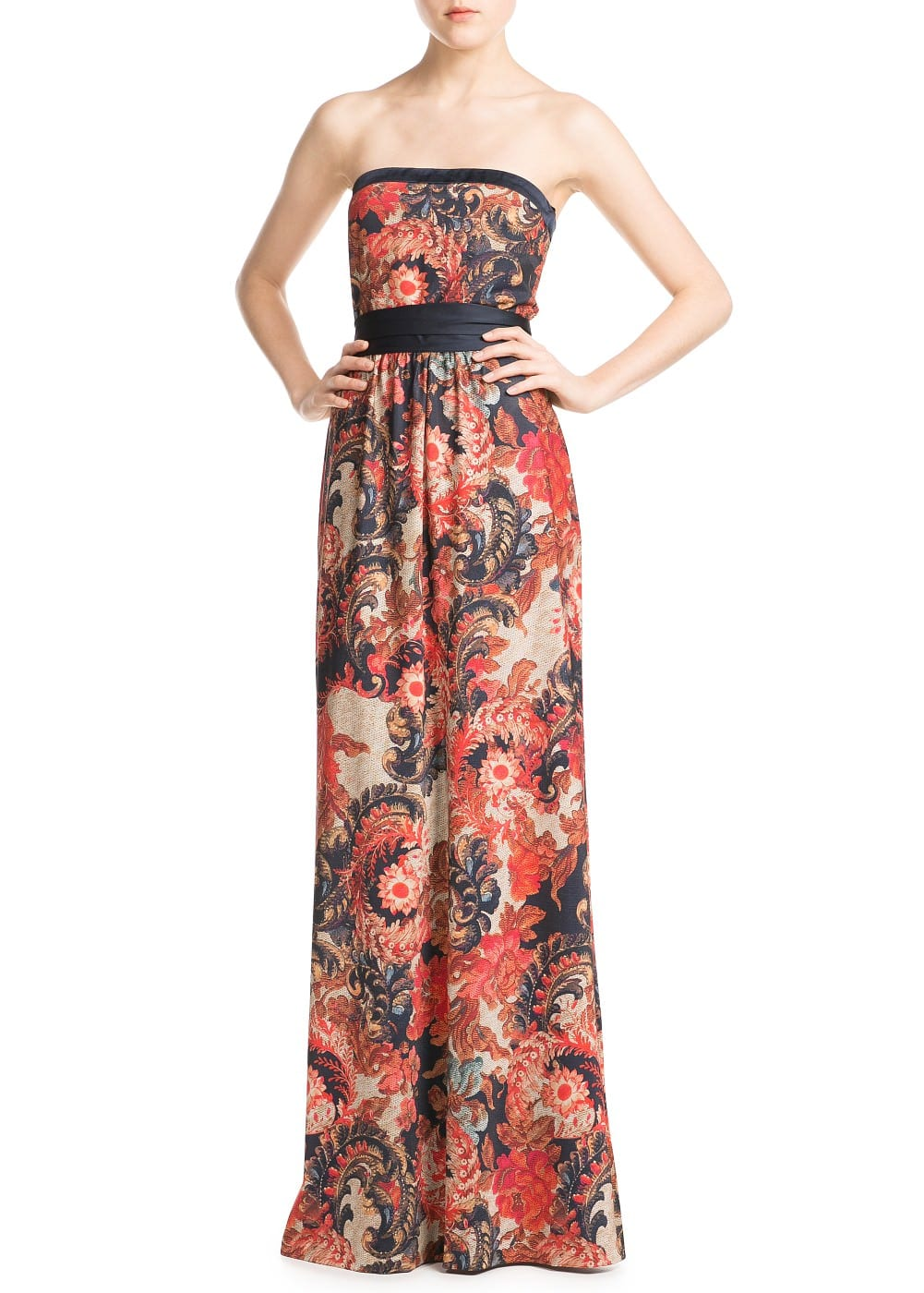 Baroque print long dress