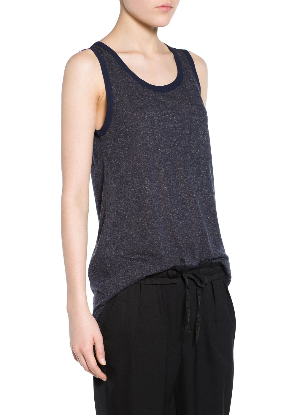 Chest-pocket linen-blend t-shirt | MANGO