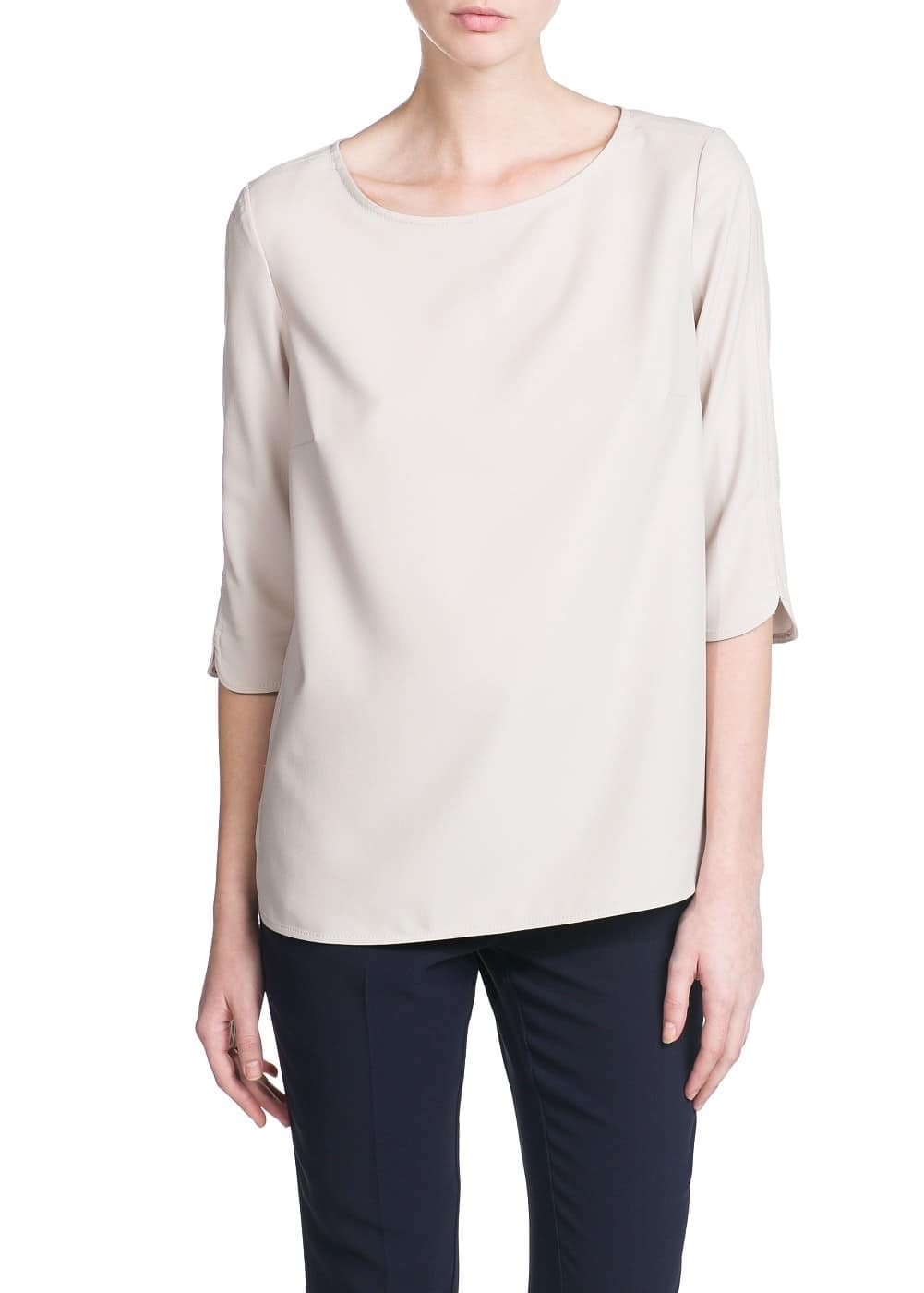 Side slit crepe blouse | MANGO