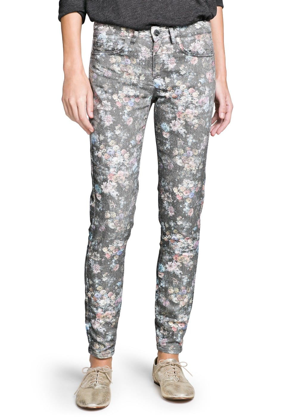 Slim-fit floral print trousers | MANGO