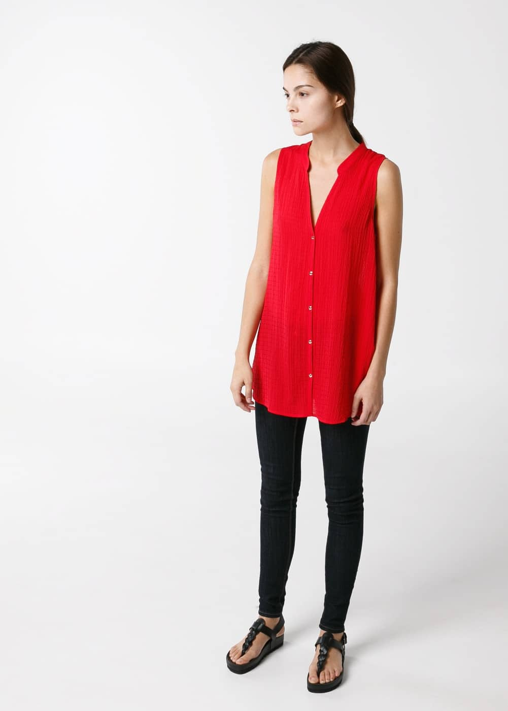 Button textured blouse