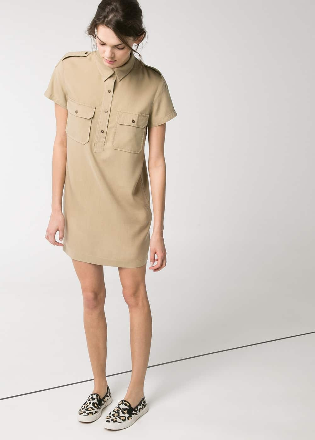 Soft fabric shirt dress